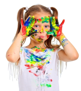 girl paint all over her
