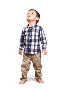 asian boy looking up white background