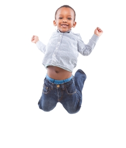 happy jumping black boy, white background