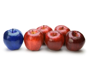 blue among red apples