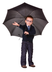 boy umbrella pointing