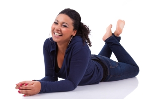 diverse happy woman on floor