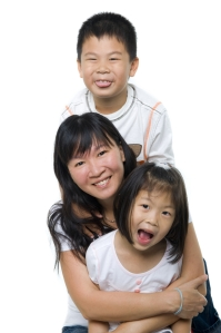 Asian mom with kids