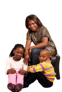 black mom with kids, white background