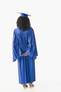 black woman graduating from behind