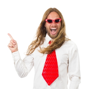 excited man pointing, long hair, tie