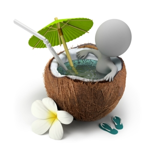 relaxed character in a coconut hot tub