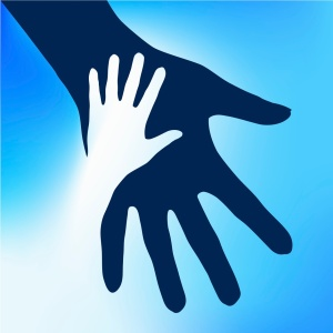 child hand cuts out adult hand sky