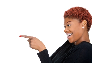 black woman pointing to the side