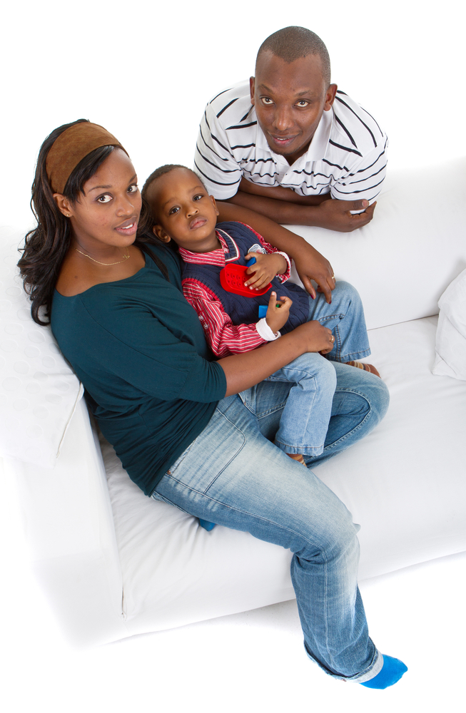 Black Family White Background