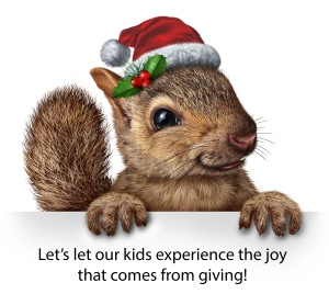 christmas squirrel with note